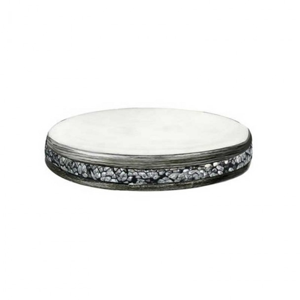 Saboneteira Em Vidro Prata Série Shiny
